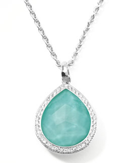 Ippolita Stella Teardrop Pendant Necklace in Turquoise Doublet with Diamonds