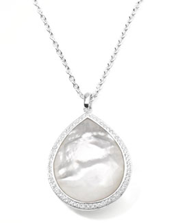Stella Large Teardrop Pendant Necklace in Mother-of-Pearl with Diamonds