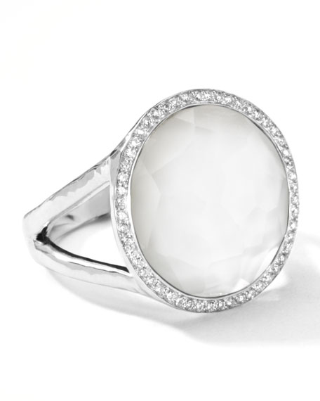 Stella Lollipop Ring in Mother-of-Pearl Doublet with Diamonds, 0.23