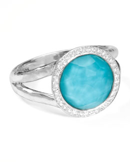 Ippolita Stella Mini Lollipop Ring in Turquoise Doublet with Diamonds, 0.15