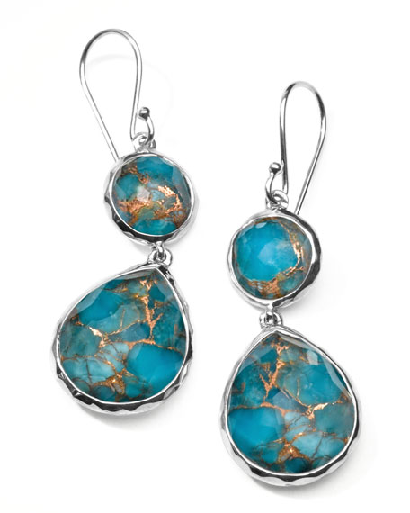 "Wonderland Snowman Turquoise Drop Earrings, 4/5""L"