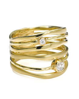 Ippolita 18k Gold Movie Star Diamond Stacked Ring