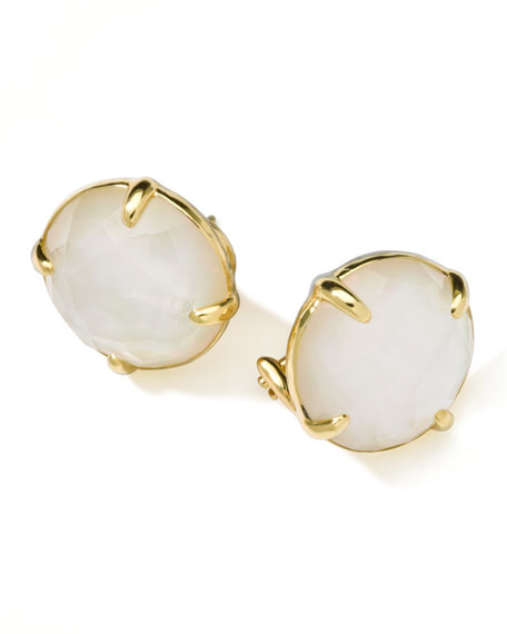 18k Gold Rock Candy Gelato Mother-of-Pearl Stud Earrings