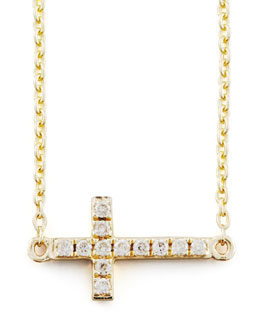 Sydney Evan Small Gold Pave Diamond Cross Necklace