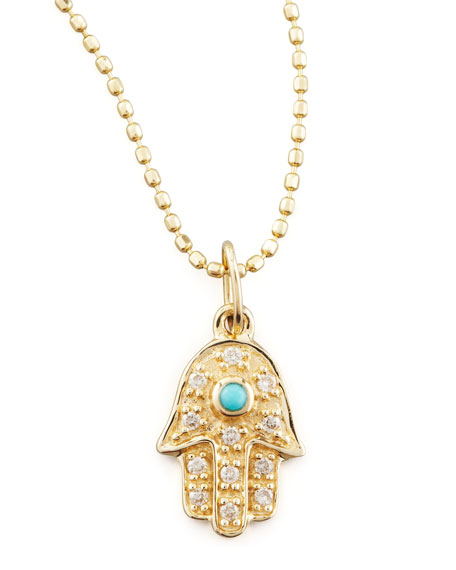SMALL HAMSA W TURQ NECKLACE