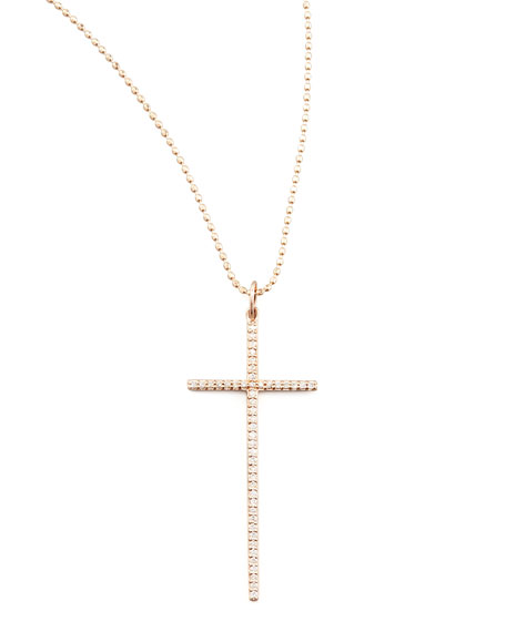 Medium Rose Gold Diamond Cross Pendant Necklace