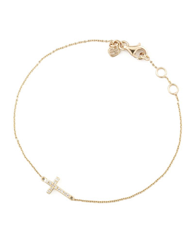 Small Gold Pave Diamond Cross Bracelet