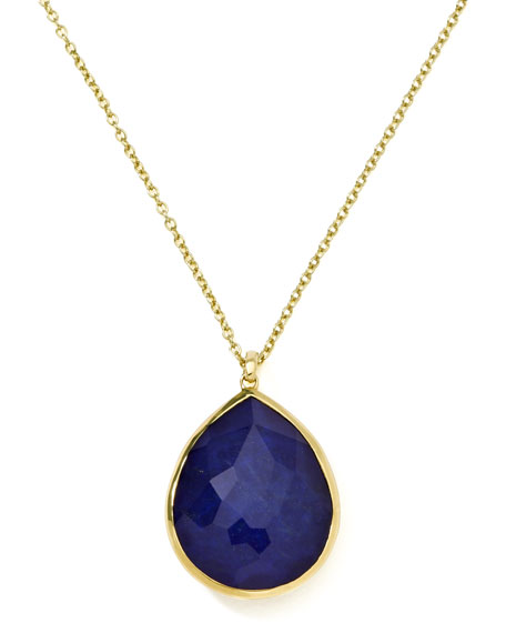 18k Gold Rock Candy Gelato Large Lapis Teardrop Pendant Necklace