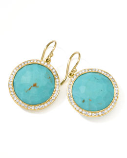 Ippolita Gold Rock Candy Lollipop Diamond Turquoise Earrings