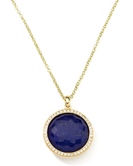 Ippolita Gold Rock Candy Lollipop Diamond Lapis Pendant Necklace