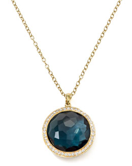 Ippolita 18k Gold Rock Candy Lollipop  Necklace, London Blue