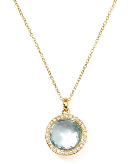 18k Gold Rock Candy Mini Lollipop Diamond Blue Topaz Necklace