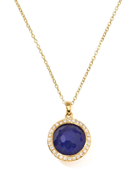 18k Gold Rock Candy Mini Lollipop Diamond Lapis Necklace