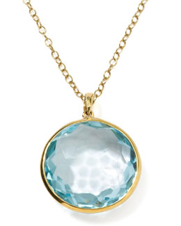 Ippolita 18k Gold Rock Candy Lollipop Pendant Necklace, Lt Blue Topaz