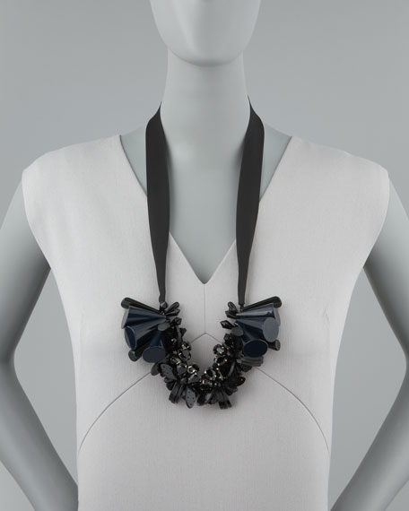 Beaded Ribbon Tie Necklace, Black