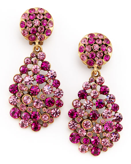 Multi-Stone Teardrop Earrings, Fuchsia