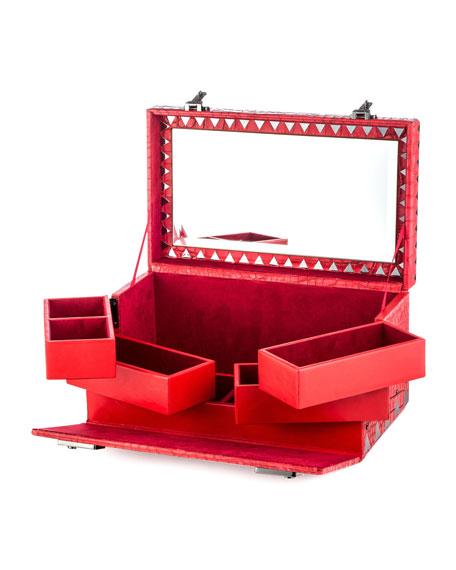 Crocodile-Embossed Jewelry Box, Red
