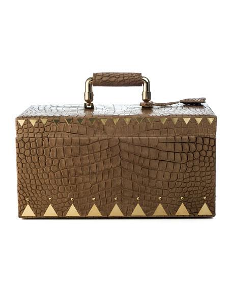 Crocodile-Embossed Jewelry Box, Brown
