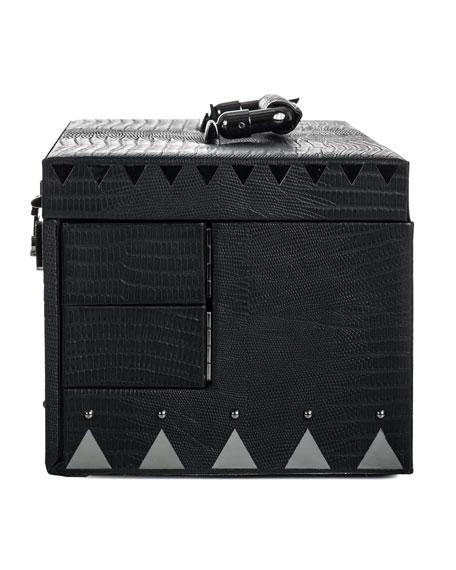 Crocodile-Embossed Jewelry Box, Black