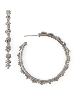Armenta Old World Mini-Cross Diamond Hoop Earrings