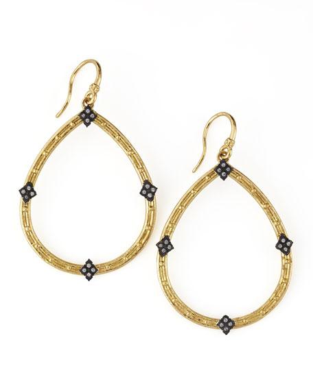 18k Gold Open Diamond Pear Earrings