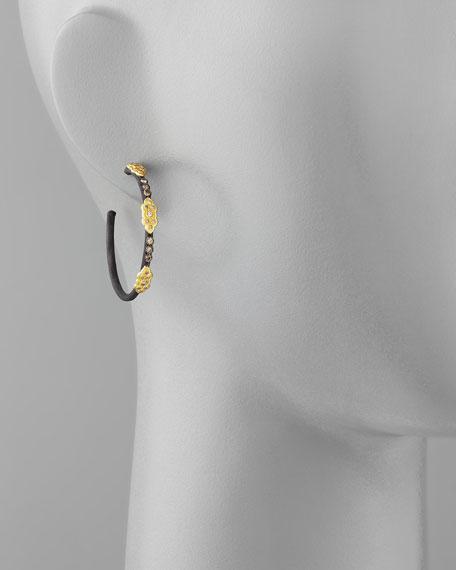 Midnight Diamond Scrolls Hoop Earrings