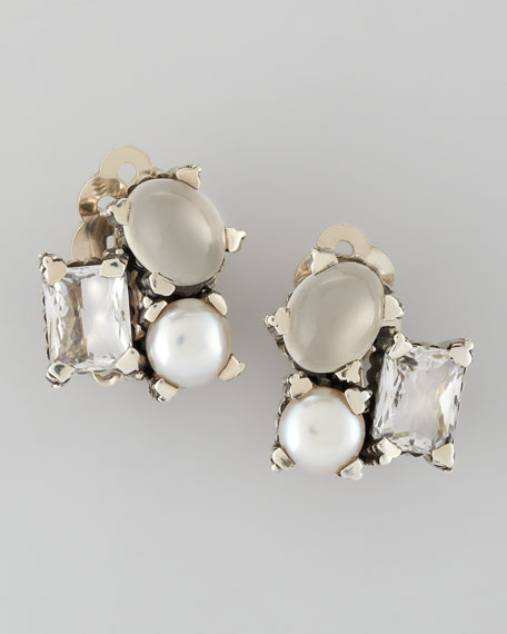 Popcorn Small Stone Cluster Clip Earrings