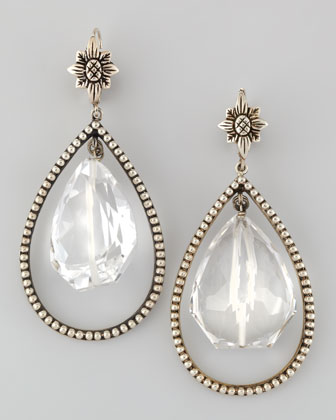 Nouveau Rock Crystal Drop Earrings