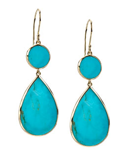 Ippolita Two-Drop Earrings, Turquoise