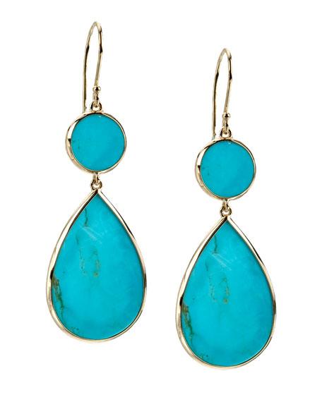 Two-Drop Earrings, Turquoise