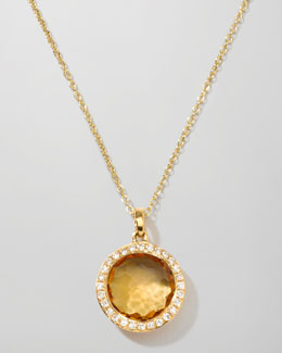Rock Candy 18k Gold Mini Lollipop Necklace in Citrine & Diamond