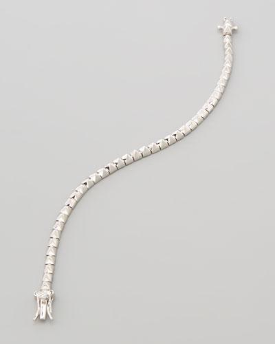Silver Plate Pyramid Tennis Bracelet