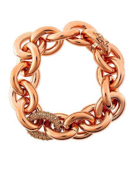 Rose Gold Pave-Link Chain Bracelet