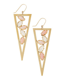 Lana Pink Opal & Rainbow Moonstone Triangle Spike Earrings
