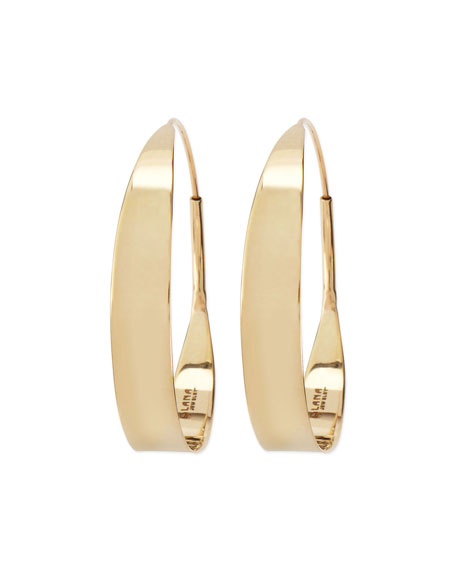 14k Small Glam Flat Hoop Earrings