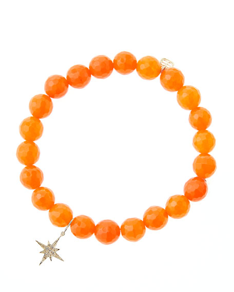 8mm Faceted Orange Agate Beaded Bracelet with 14k