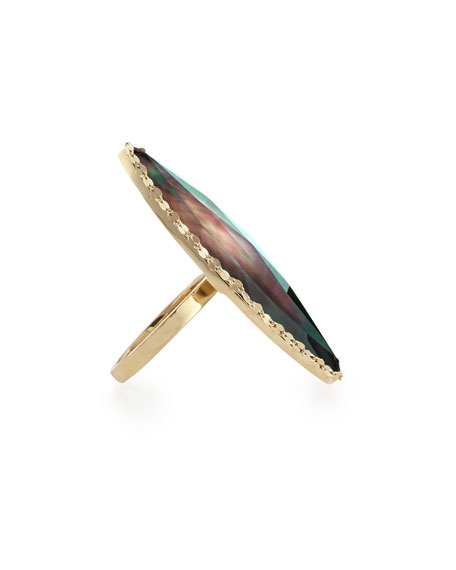 Mystiq Black Mother-of-Pearl Marquis Ring