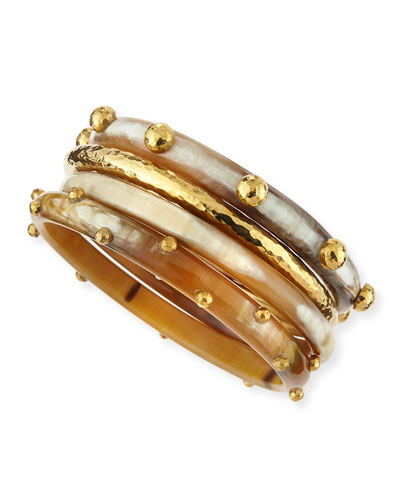 Kamata Horn & Bronze Bangles, Set of 4