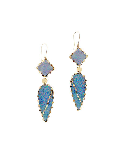 Frosted 14k Opal Drop Earrings