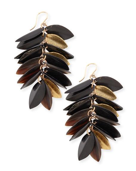 Tanzu Dark Horn & Leaf Earrings