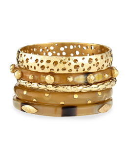 Nadra Mixed Bangle Set, Bronze/Light Horn