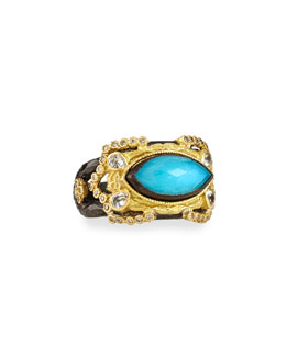 Carved Marquise Blue Turquoise Ring