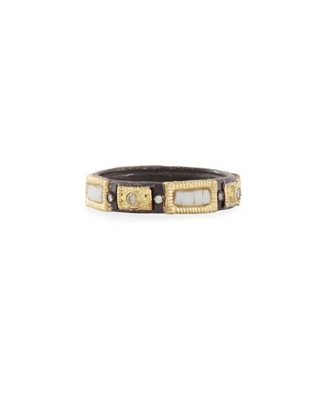 Midnight Silver/Gold Stackable Mosaic Ring