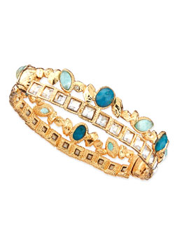 Gilded Muse d'Ore Skinny Stacked Hinge Cuff