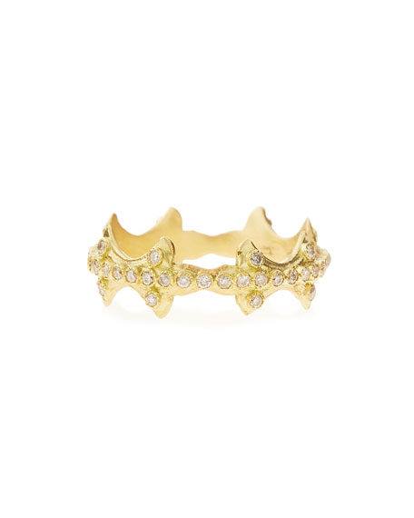 18k Plume Stackable Diamond Band Ring