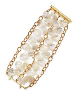 22k Gold Plate Mother-of-Pearl Petal Bracelet