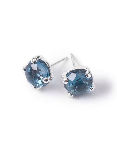 Silver Rock Candy Mini Stud Earrings, London Blue Topaz