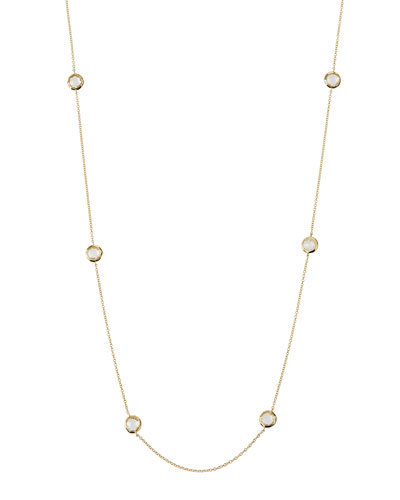 "18k Lollipop Mini Stone Station Necklace, 50""L"