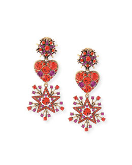 Crystal Stars & Heart Drop Earrings, Red