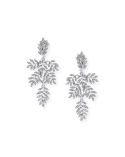 Crystal Vine Drop Clip Earrings